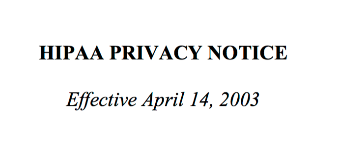 Website Notice of Privacy Practices